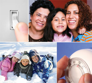 Light switch, group of women, group of kids, thermostat